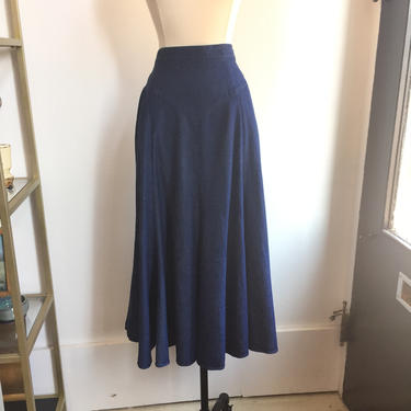 Vintage 80's Flattering DENIM Prairie Skirt / 8 Gore + Drop Waist / POCKETS / 1849 Authentic Ranch Wear by CharmVintageBoutique