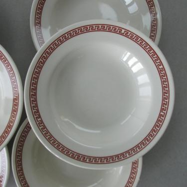 Vintage Cereal Bowls from Mayer China - Troy pattern, Rust Brown Greek Key - set of 6   restaurant ware, restaurantware   Made in USA by theHeirloomYard
