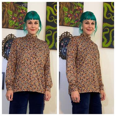 Vintage 1970's Brown Paisley Shirt with Cinch Bottom by SurrealistVintage