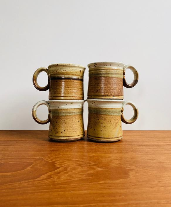 Vintage studio pottery mugs, set of 4 / PNW artist Michael Stearns ceramic cups / boho hippie earthy decor by EarthshipVintage