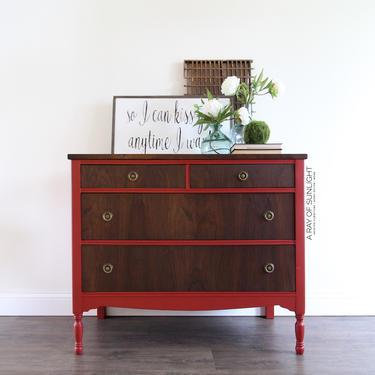 Red Dresser - Vintage Dresser, Two Tone Dresser, Painted Furniture, Refinished Dresser, Antique Furniture, Farmhouse Decor, Rustic Dresser by ARayofSunlight