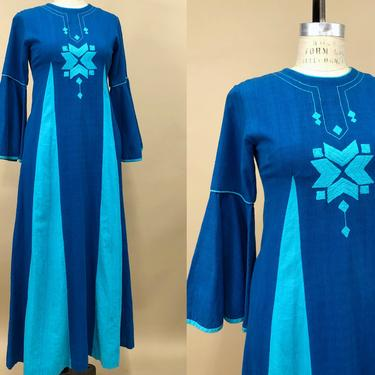Vintage 1970s Blue Multi Color Josefa Caftan, 70s Embroidered Josefa Diseños, Vibrant Blue Mexican Maxi Dress, Folk Boho, Size X-Small by MobyDickVintage