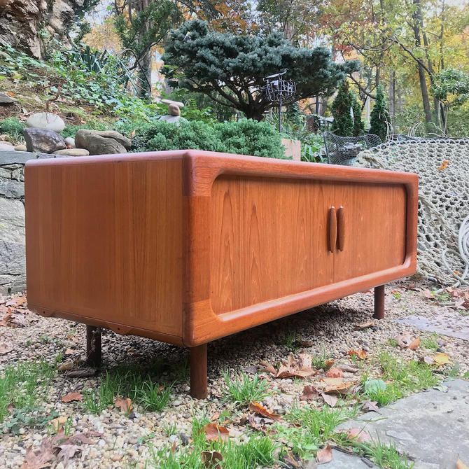 Mid-Century Scandinavian Pedersen Teak Credenza Tambour Doors Low Media Flat Screen Table Console Cabinet Vintage Mad Men Era by BrainWashington