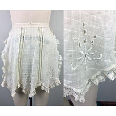 Vintage Antique Apron Victorian Edwardian White  Embroidered Flowers and Lace Trim French Maid by FlashbackATX