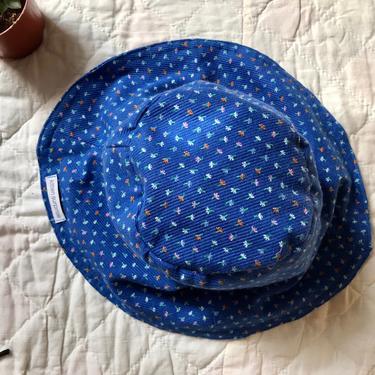 floral corduroy bucket hat in blue by KittenSurprise