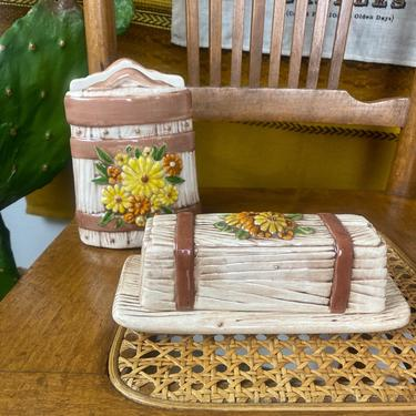 Vintage Hand Painted Ceramic Napkin Holder and Matching Butter Dish by DesertCactusVintage