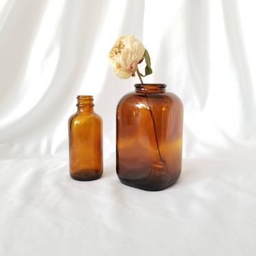 Vintage Bud Vase Set / Brown Glass Vases  / Tincture Bottle Vases / Apothecary Bottle Vases / Small Accent Bottles / Earth Tone Home Decor by SoughtClothier