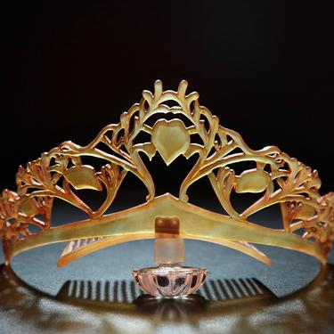 Art Nouveau Carved Clarified Horn Naturalistic Motif Tiara, Antique Tiara, Art Nouveau Nature Motif Comb, Bridal Tiara, Antique Headdress by CombAgain