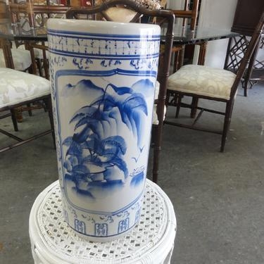 Blue & White Ceramic Umbrella Stand
