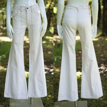 70s LEVIS Orange Tab high waisted off white denim bell bottoms jeans 28  / vintage 1970s denim flares pants S by ritualvintage