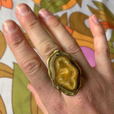 60's LARGE RING - hippie - metal andstone - adjustable by GlamItToHell
