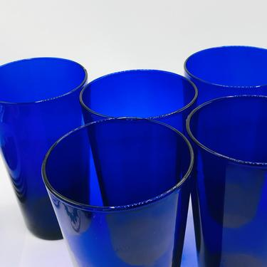 Pretty Set of (6)  Cobalt Blue Glass large drinking glasses-Libbey 16 Ounce by JoAnntiques
