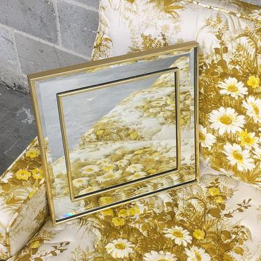 Vintage Wall Mirror 1990s Retro Size 14x14 Contemporary + Square + Gold Plastic Frame + Beveled Glass + 2 Ways to Hang + Home and Wall Decor by RetrospectVintage215