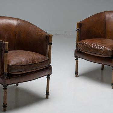 Leather and Faux Bamboo Club Chairs