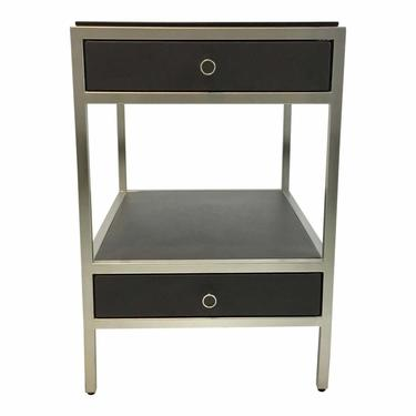 Caracole Modern Charcoal Black Leather and Metal Uptown End Table