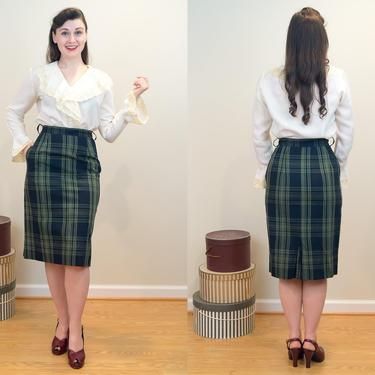 SALE PRICE 1960s Vintage Skirt- Perfect Plaid Pencil Skirt with a Pocket! by DomesticatedPinup