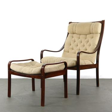 Bentwood Lounge Chair w/ Ottoman by Fredrik Kayser for Vatne in Rosewood and Original Fabric made in Denmark by ABTModern