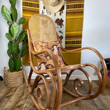 Mid Century Thonet Bentwood and Caned Rocking Chair by DesertCactusVintage