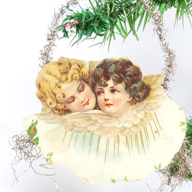 Early 1900's Victorian Angel Embossed Die Cut and Tinsel Christmas Scrap Ornament, Antique Decor by exploremag