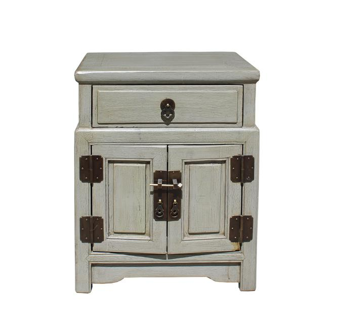 Chinese Distressed Light Gray Metal Hardware End Table Nightstand cs3917E by GoldenLotusAntiques