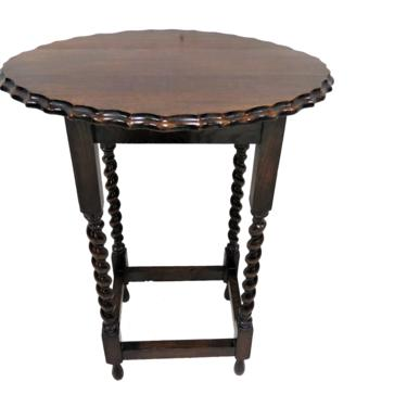 Wooden Side Table   Antique English Oak Barley Twist Scalloped Edge Accent Table by PickeryPlace