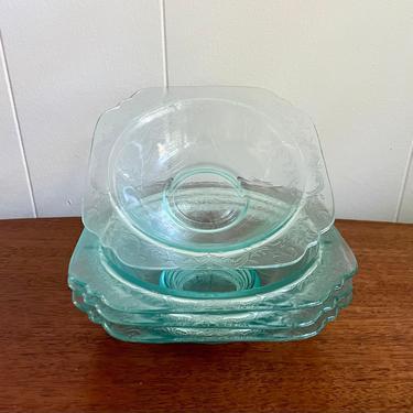 Set of 4- Vintage Hazel Atlas Madrid Depression Glass Aqua Blue Floral Bowl, Clear Blue with Floral Design by BlackcurrantPreserve