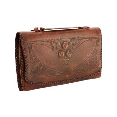 1920s Tooled Leather Wallet - 1920s Tooled Leather Clutch - Antique Leather Wallet - 20s Leather Purse - 1920s Rose Purse - 20s Leather Bag by VeraciousVintageCo