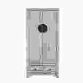 Oriental Distressed Rough Off White Slim Storage Cabinet cs5395S