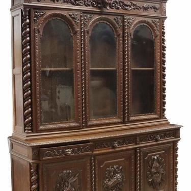 Antique Bookcase, Monumental, French Henri II Style Carved Oak Stepback, 1800's!