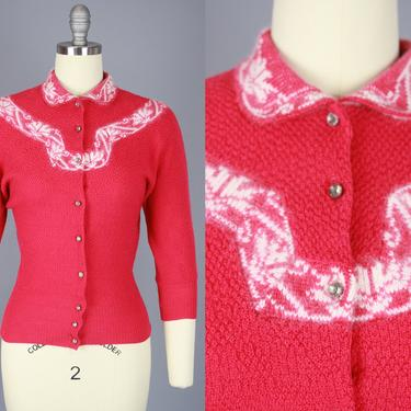 1940s Magenta Cardigan with White Trim | Vintage 40s 50s Sweater with Rhinestone Buttons | small / medium by RelicVintageSF