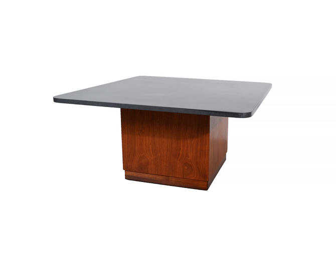 Founders Walnut Cocktail Table Cube Table Slate Top Mid Century Modern by HearthsideHome