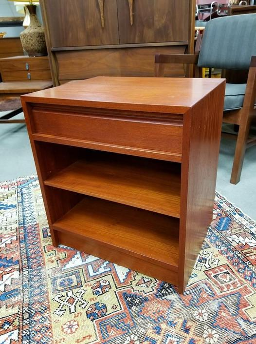 Danish Modern teak nightstand with one drawer and lower shelf