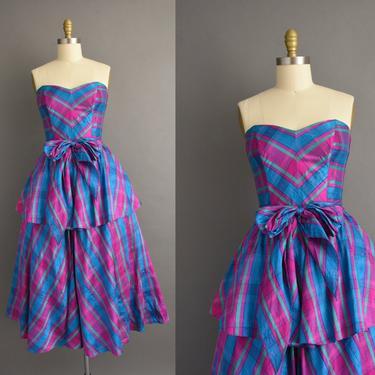 1980s vintage dress | Gorgeous Strapless Colorful Stripe Print Cocktail Party Full Skirt Dress | Small | 80s dress by simplicityisbliss