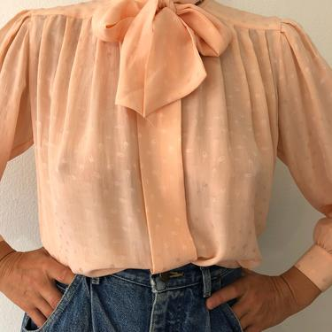 Vintage Light Peach Silk Blouse With Removable Bow by VintageRosemond