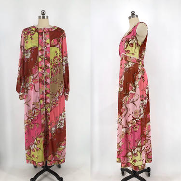 60s EMILIO PUCCI psychedelic print Formfit Rogers 2 piece set with slip dress & robe EPFR 1960s vintage signed  L by ritualvintage