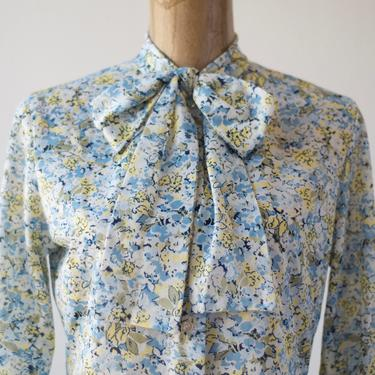 70s Vintage LIBERTY OF LONDON Floral Pussybow Blouse by Koret, Sheer Nylon Bow Collar Button Down Top Flower Power Shirt Groovy Hippie Mod by MOBIUSMOD