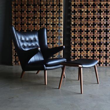Hans J. Wegner Black Leather Papa Bear Chair & Ottoman for A.P. Stolen