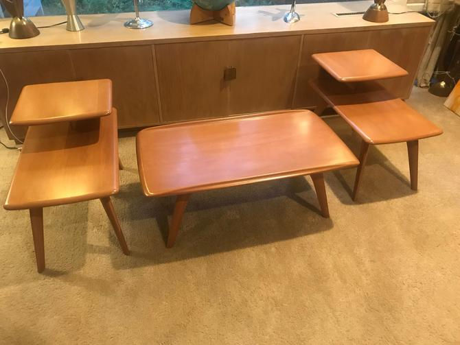 Heywood Wakefield Coffee Table and End Tables, Champaign finish by MidCenturyModHome