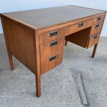 Mid Century Danish Modern Teak Writing Desk w/ Woven Wicker Front by Sligh Lowry by HarveysonBeverly