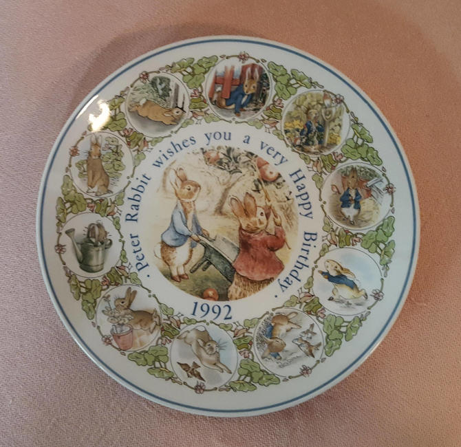 Vintage Beatrix Potter Nursery Ware 1992 Peter Rabbit Birthday Plate By Wedgwood by OverTheYearsFinds