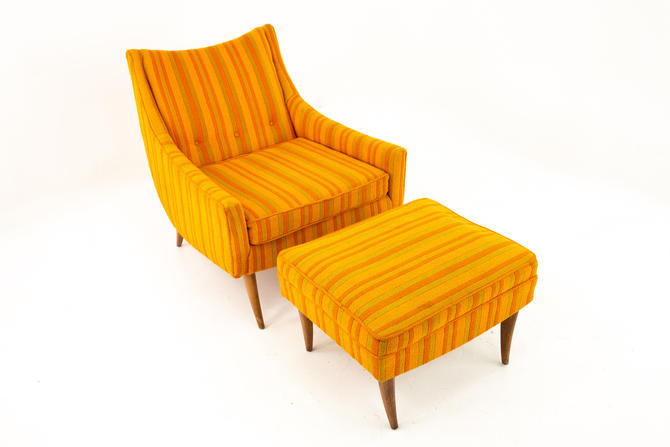 Adrian Pearsall Style Kroehler Mid Century Orange and Green Striped Lounge Chair and Ottoman - mcm by ModernHill