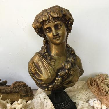 Antique Classical Lady Greek Bacchante Bust On Raised Plinth, Unsigned Bust, Woman With Grape Vine Crown, Metal Sculpture by luckduck