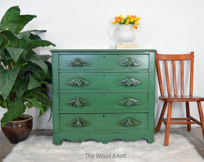 Farmhouse Style Green and Dark Glaze Dresser