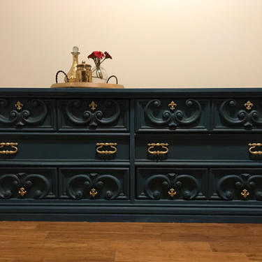 SOLD - 1970's Buffet/Dresser Blue - PRICE REDUCED! Holiday Sale by FrenchTwistAntiques