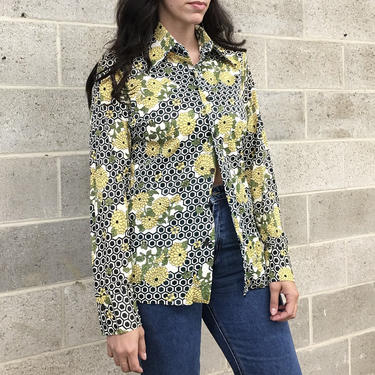 Vintage Shirt Retro 1970s Geometric Print + Floral + Button-down + Size Medium + Pointed Collar + Long Sleeves + Unisex Apparel by RetrospectVintage215