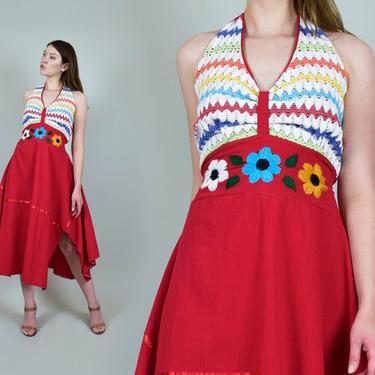 1970's Floral Embroidered Dress l 1970's Halter Sundress by WisdomVintage