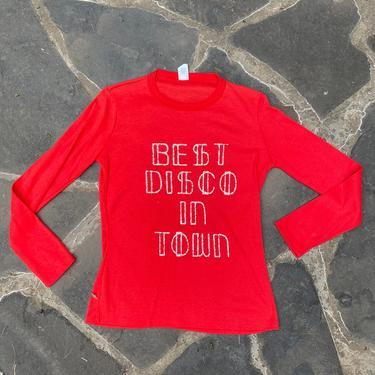 70s vintage DISCO graphic t shirt M / vintage 1970s Novelty fun glitter Best Disco In Town red long sleeve tee shirt by ritualvintage