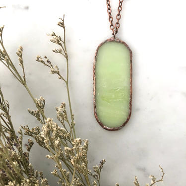 Oval Pastel Green Stained Glass Necklace | Stained Glass Necklace | Glass Necklace | Marble Necklace | Stained Glass Art by LedbellyVintage