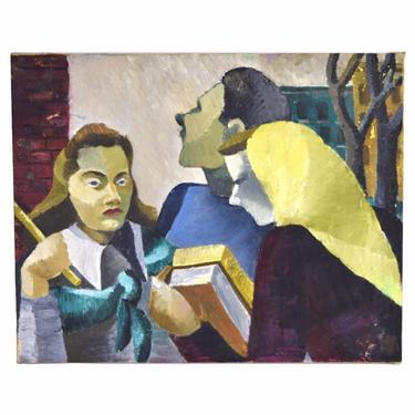 Vintage Mid-Century Modern Cubist Portrait People on Street Rosemary Zwick by PrairielandArt
