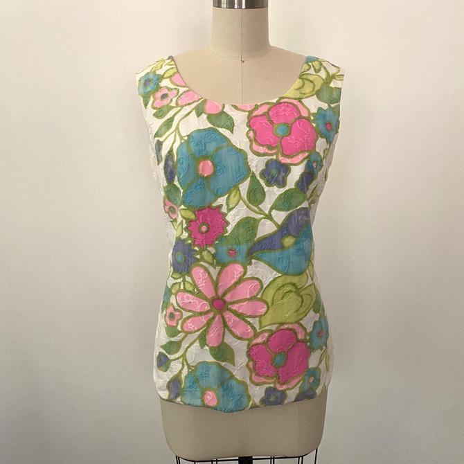 Vintage 1960s Blouse 60s Top Alex Colman Designer Cotton Brocade Floral Border Print by littlestarsvintage